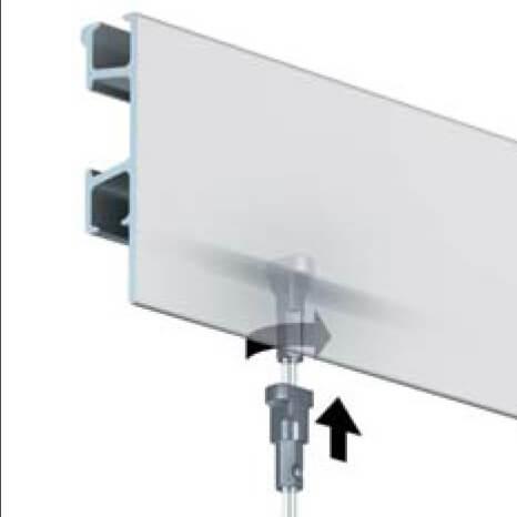 Click Rail Pro Galerieschiene mit der Anleitung wie der Massiver Gleiter Pro eingesetzt wird. Dieser kann an jeder beliebigen Stelle von unten direkt eingesetzt werden.