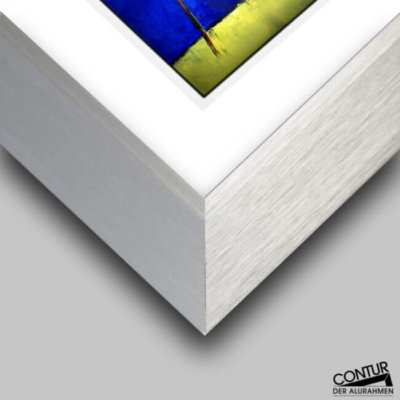 Wechselrahmen kantiges Profil in Silber matt
