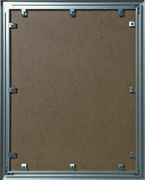 Alu-Wechselrahmen Rückseite mit Clip-Andruckfedern für das Profil Contur Objektum 800