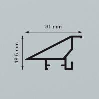 Contur Modern 400 ist ein abschrägtes Profil mit einer silber matt gebrstenten Oberfläche
