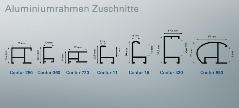 Alu-Rahmen Zuschnitte im Profilschnitt