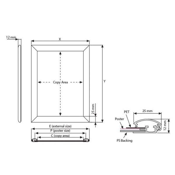 Klapprahmen 25 mm Technische Zeichnung und Profilzeichnung