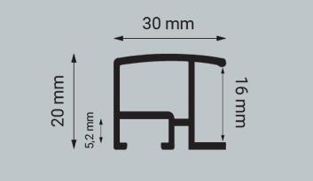 Alu-Rahmen Zuschnitt Contur 320 als Profilzeichnung